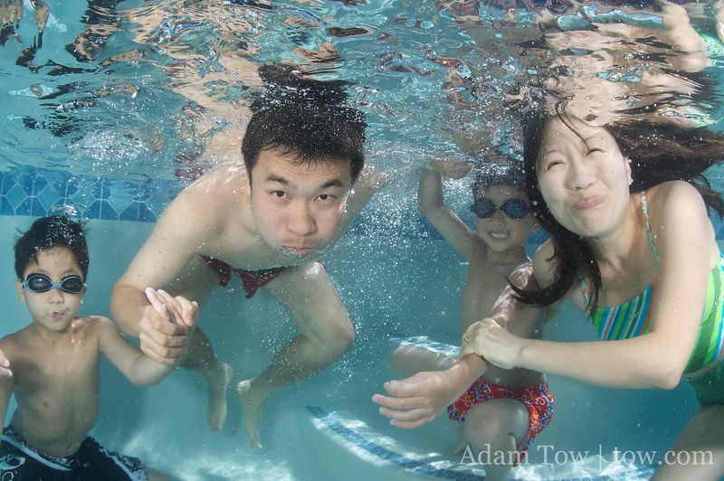 The Young family underwater portrait.