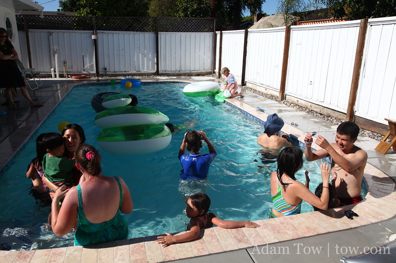 Pool party at Rae and Adam's.