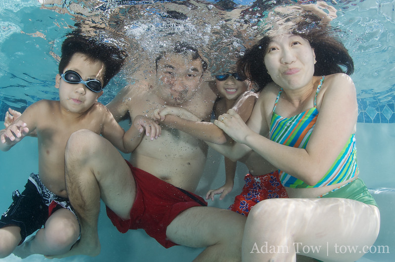 The Young family underwater portrait take 2.
