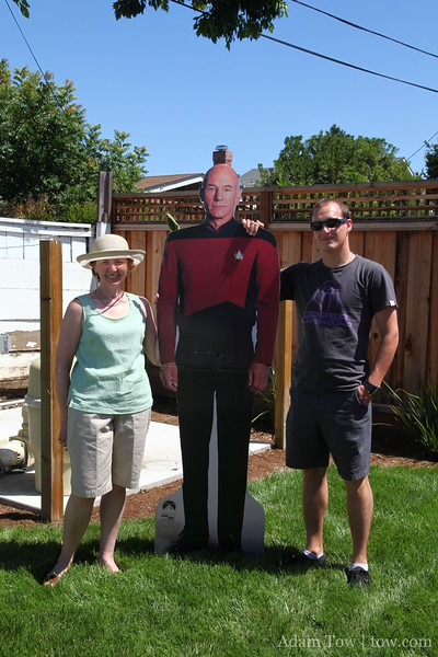 Olga and Constantine with Captain Picard.