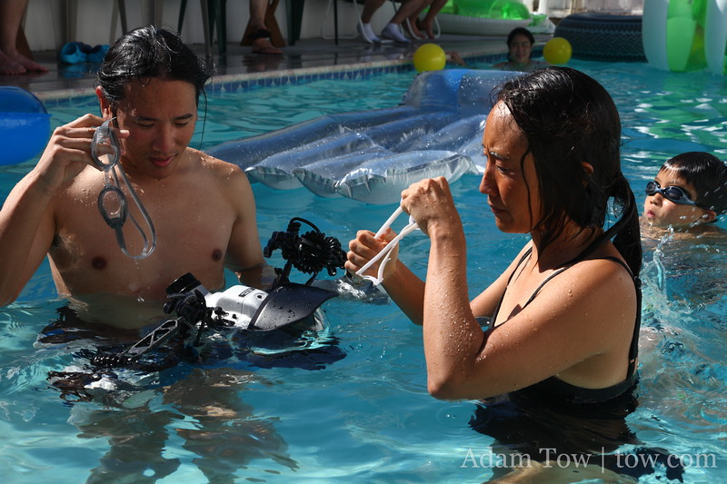 Getting ready to photograph Rae underwater.