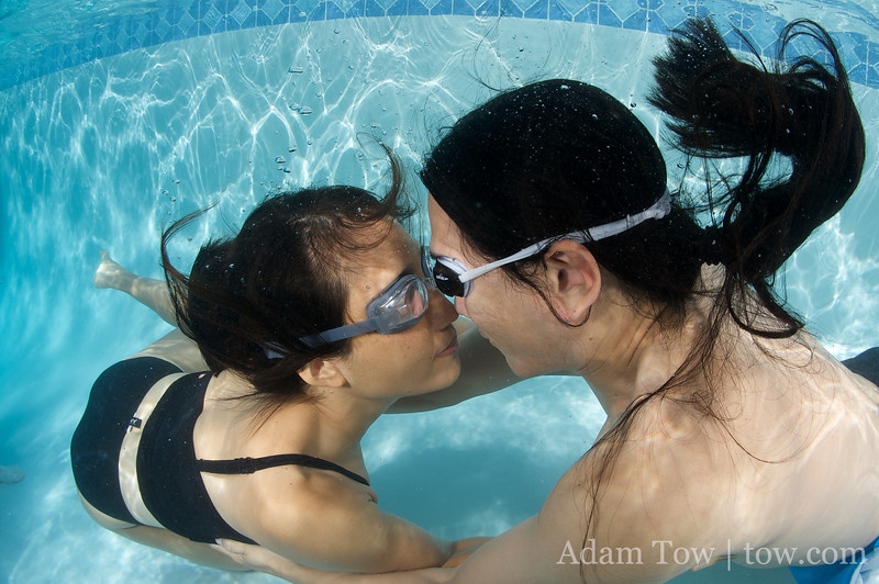 "Adam and Rae ""nosy"" underwater."