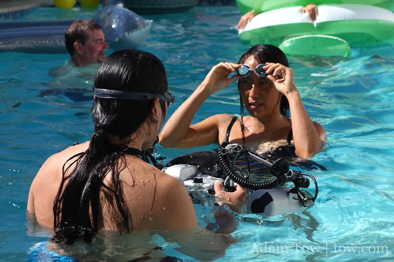 Preparing to take underwater photos.
