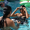 Preparing to take underwater photos.