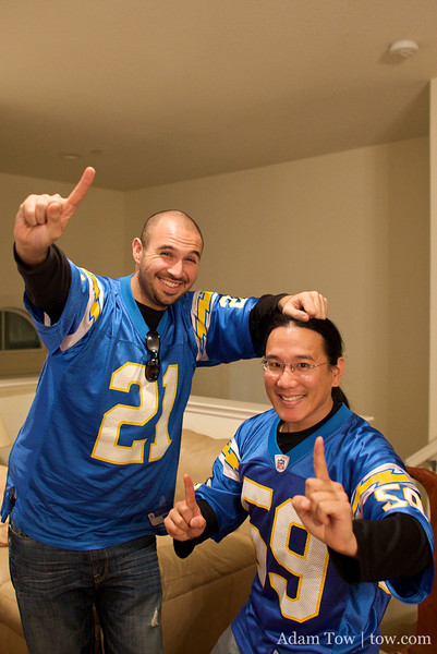 """Adam is 5'6"""" tall, the same size as San Diego Charger super all-purpose back and hero of the game, Darren Sproles!"""