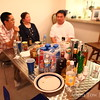 Drinks and snacks at Dardy's housewarming party.