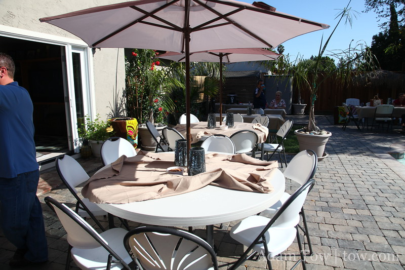 Lovely tables with big umbrellas to hide from the searing sun.
