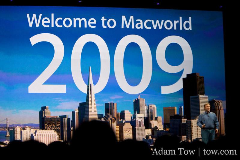Phil Schiller, VP of Marketing for Apple, gives the keynote presentation at Macworld 2009.