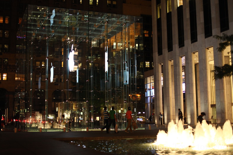 The glass walled Apple Store.
