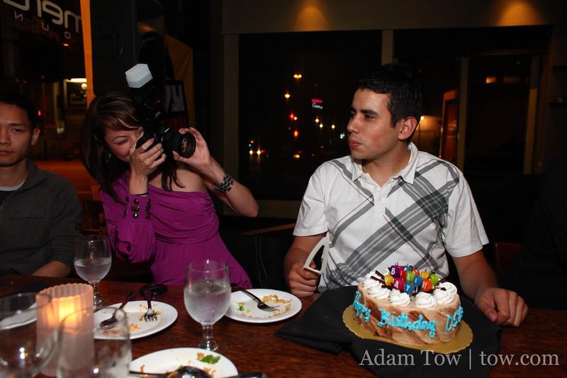 Cheryl takes a photo of her birthday boy.