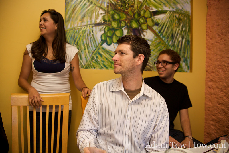 Alicia, Philip and Ryan look on as the birthday boy Randy walks into the door.