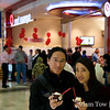 Rae and Adam with their free Red Mango yogurt.