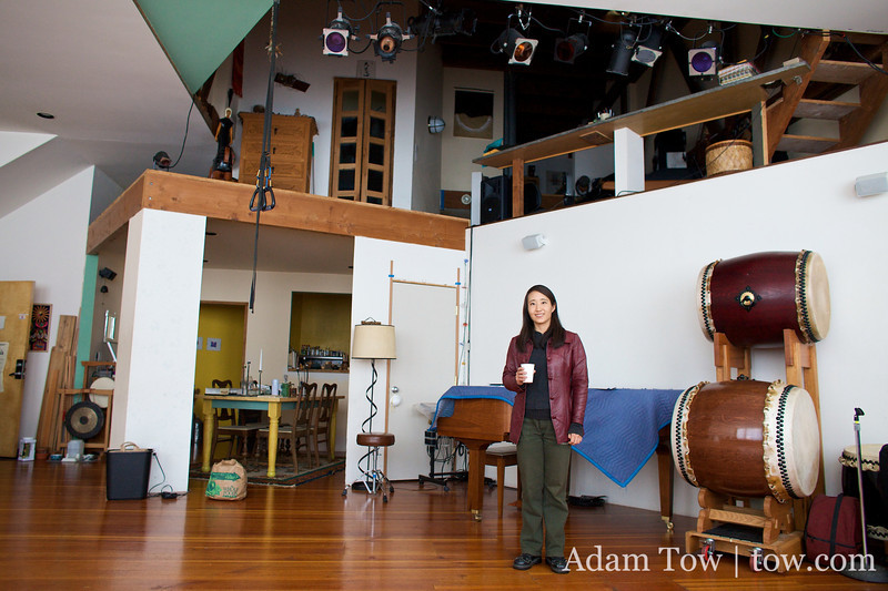 Rae in Kallan's loft where the taiko performance would later be held.