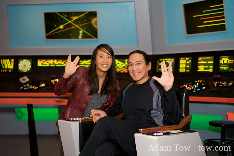 Adam and Rae on the bridge of the Enterprise.