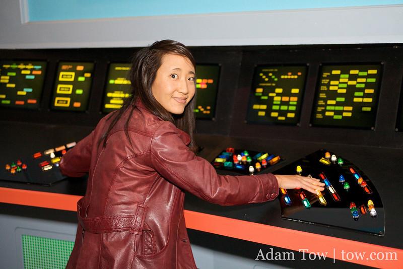 Rae at Uhura's communications station.