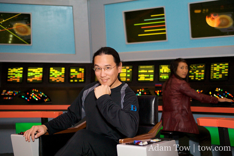 Adam with his Captain Kirk impression while Rae looks on.