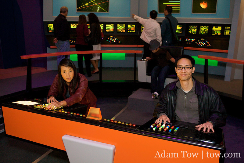Rae is ready to fire photon torpedos while Felix deftly navigates the Enterprise.