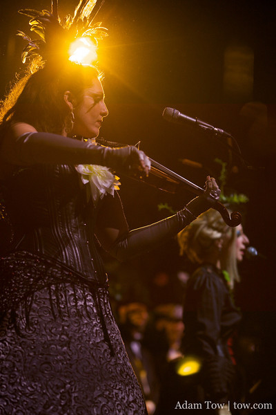 Jasmin Garden performs on the violin during Rosin Coven's performance at the 2010 Edwardian Ball in San Francisco.