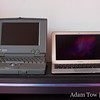The 11.6-inch MacBook Air has a smaller footprint but a larger screen than the first PowerBook 100.