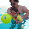 Allison enjoys the pool with Levi.