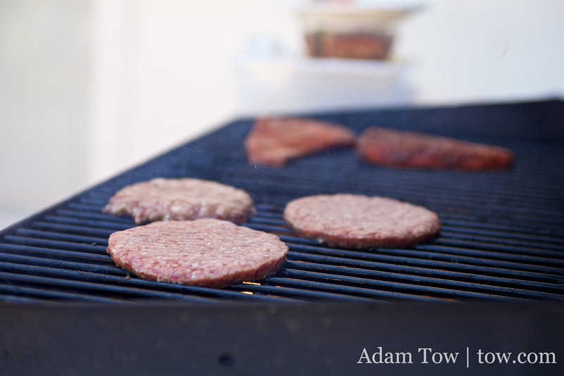 Grilling some burgers.