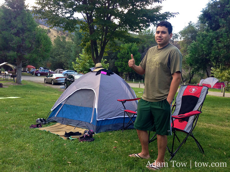 Osvaldo gives thumbs up to his first camping experience.
