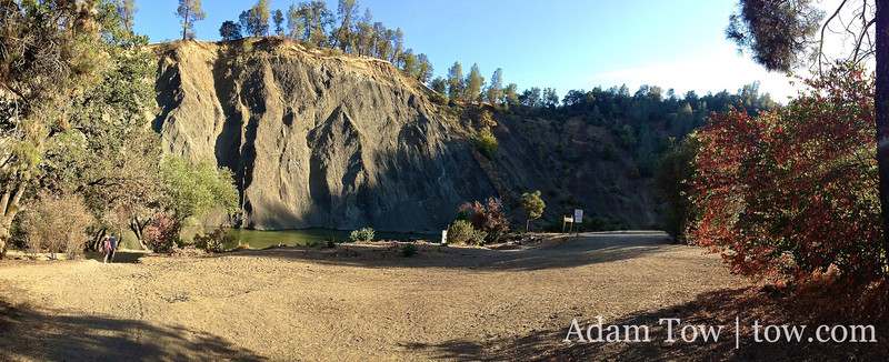 Panorama of the beach at the Cache Creek Regional Park.