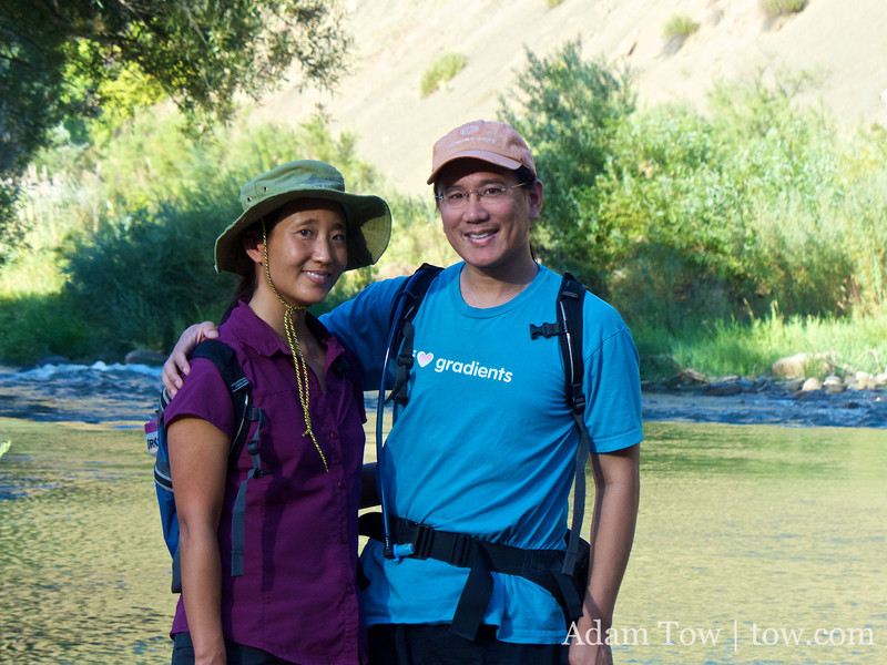 Adam and Rae at the Cache Creek river.