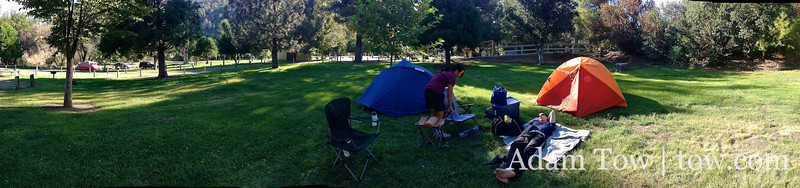 Panorama of camp site #40 at Cache Creek Regional Park.