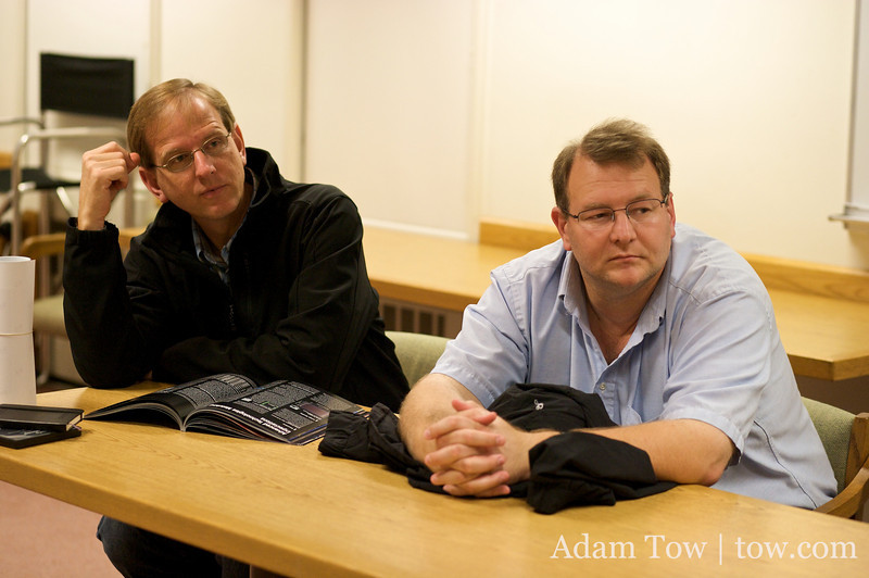 Chris and Doug listen to Jim's presentation on the 5D Mark II.