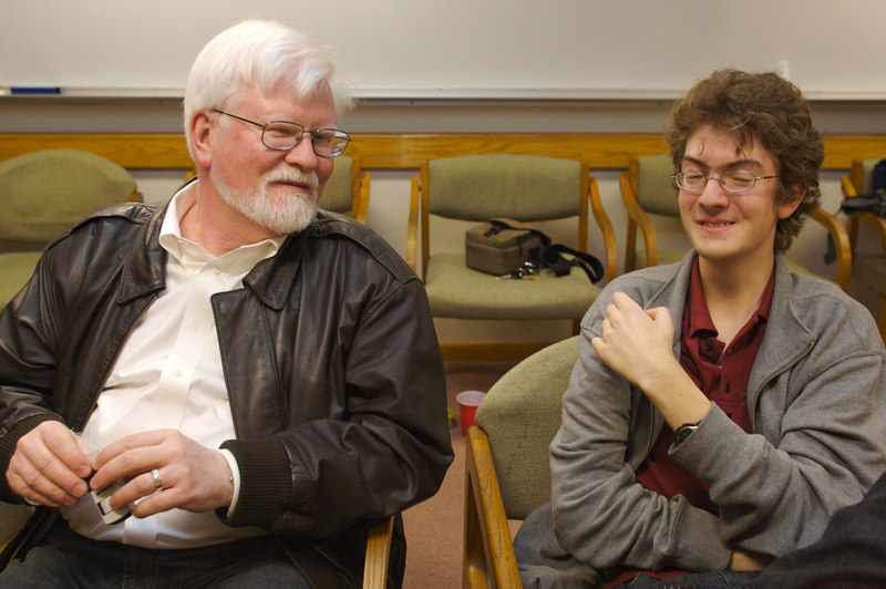 Glenn chats with freshman, James, during the December 2006 COBA meeting.