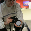 Getting a dust reading on his camera before the sensor dust presentation.