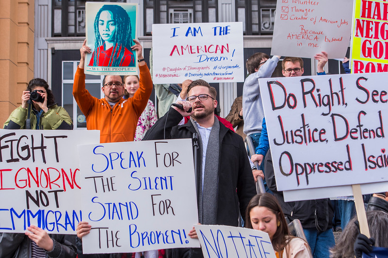 The Ogden community gathers at the steps of the Ogden Municipal Building to protest newly elected president Donald Trump. Weber County Party of democrats John Miles organizes a march down Historic 25th Street in Ogden on Saturday February 4, 2017.