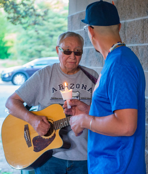 Great uncle Bob Martinez plays Bill Withers - Ain't No Sunshine during Austin Lujan's candle light vigil. Austin was tragically killed in a car accident Monday. The gathering was held at High Adventure Park in Ogden on June 22, 2017.