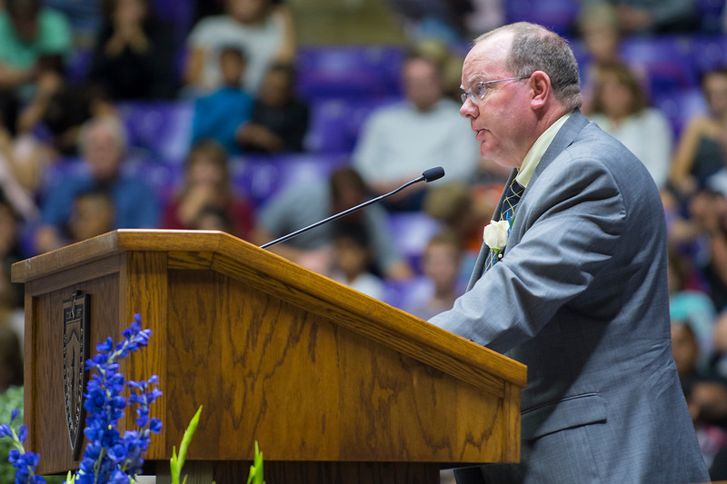 Bonneville High School principal Larry Hadley speaks during the class of 2017 graduation on Monday at the Dee Events Center in Ogden on May 22, 2017.