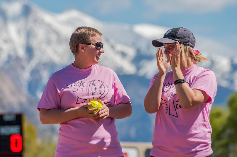 Weber High's Softball team had a pink out softball game for Chantel Heim who recently had a double mastectomy. She also threw out the first pitch at Weber High School on Monday May 1, 2017.'