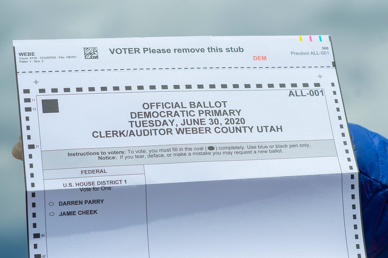 Election Day drive-thru ballot pick-up operations take place at the Weber County Fairgrounds parking lot, on June 30, 2020 in Ogden.