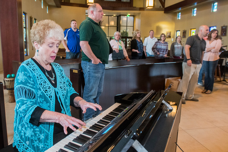 Evelyn Harris rehearses with her choir group on May 1, 2017 in South Ogden . Evelyn help build Weber State's vocal program, still teaches there & got an honorary doctorate degree at the April 28 graduation ceremony.