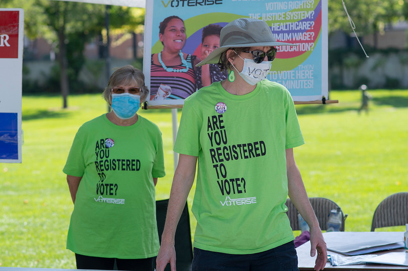 Voterise is holding a voter-registration initiative during Farmer's Market ,in Ogden on August 29, 2020. Volunteers Heather Sarin (Right) and Marilyn Johnson run the booth.