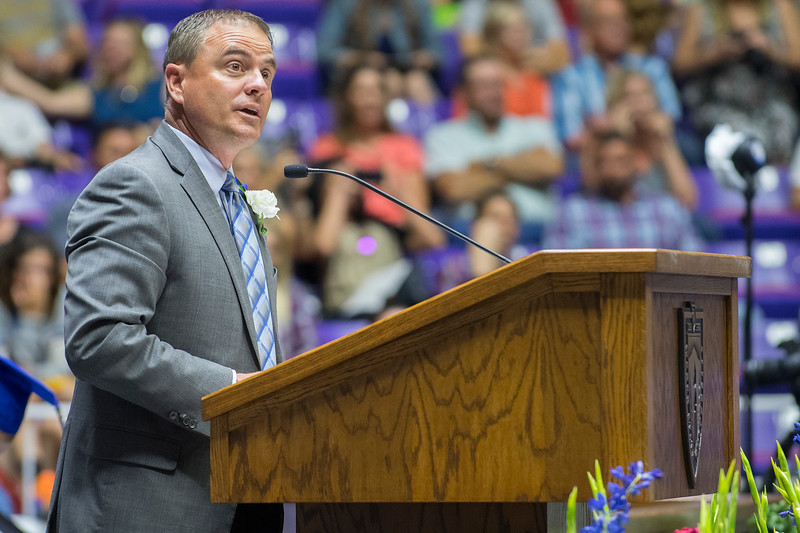Dr. Rod Belnap gives the closing remarks during Fremont High Schools  graduation ceremony on Monday at the Dee Events Center in Ogden on May 22, 2017.