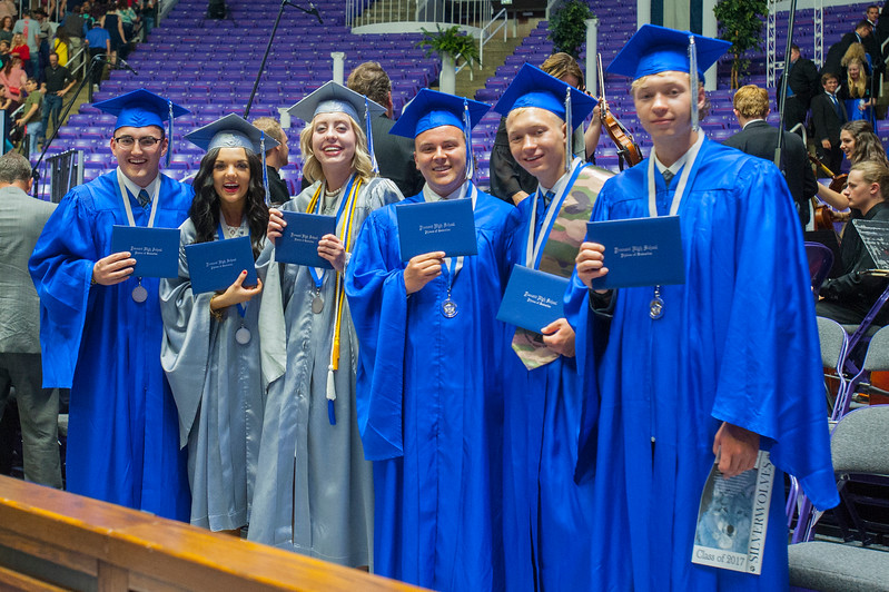 Fremont High School's senior class officers pose for a picture after the graduation ceremony on Monday at the Dee Events Center in Ogden on May 22, 2017.
