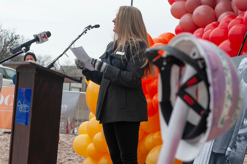 Lorie Buckley speaks during the groundbreaking for Dumke Arts Plaza in Ogden, On Febuary 26, 2021.