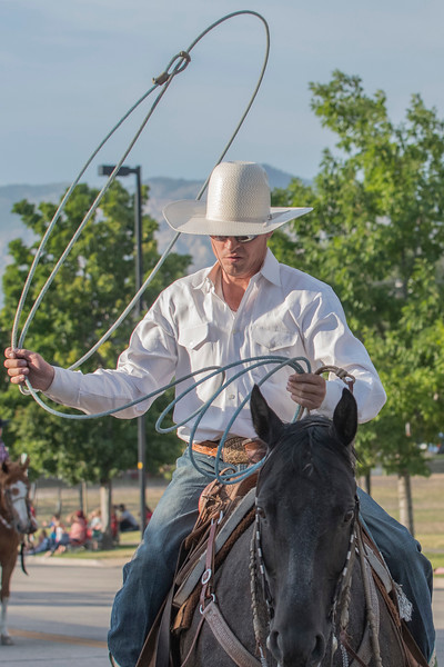 Hadley Hunting does rope tricks for crowd at the Horse and Hitch Parade on Washington Boulevard In Ogden on July 17, 2017.