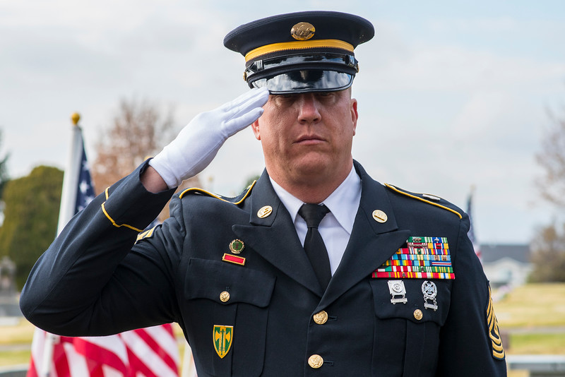 First Sergeant Allen Jackson leads the flag ceramony for fallen soldier Maj. Brent R. Taylor. Brent was also Mayor of North Ogden. Funeral service took place on Saturday, Nov 17, 2018.