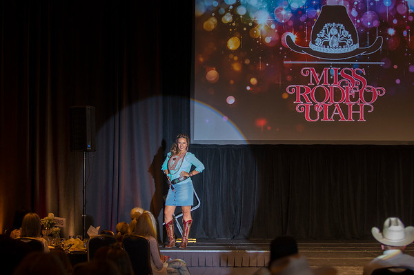 2018 Miss Rodeo Utah fashion show participant Mckaylie Richins struts up and down the stage in different outfits, on Saturday July 22, 2017,at the Ogden Eccles Conference Center.