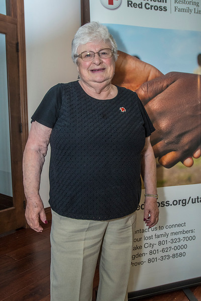Northern Utah American Red Cross recognizes Liz Tacado who is an 80-year-old who has volunteered actively for 45 years. Her first volunteer effort was when she was 7 years old. She gets her portrait during the event on June 15, 2017 at the Arbor Lodge in Eden.