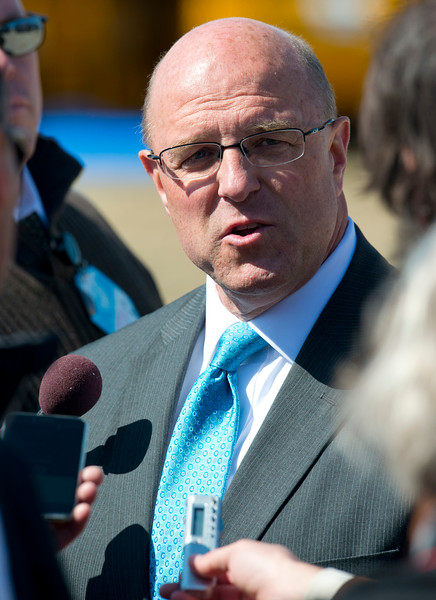 Hill Air force Base Civil Engineer Harry Briesmaster has a word with the media after President Obama's remarks.  At Hill Air force Base in Layton on April 3, 2015.