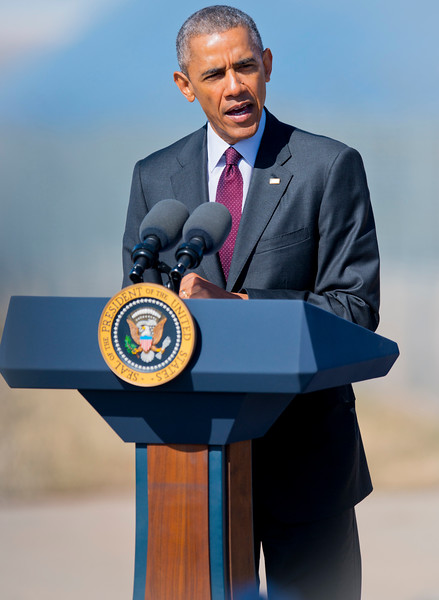 Barack Obama makes remarks on clean-energy and the economy. Last time Obama visited Utah was back in 2007 as part of his presidential campaign.  At Hill Air force Base in Layton on April 3, 2015.