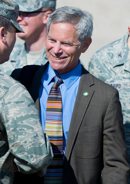 Salt Lake City Mayor Ralph Becker shakes the hands of soldiers after President Barack Obama remarks about clean-energy and the economy. At Hill Air force Base in Layton on April 3, 2015.