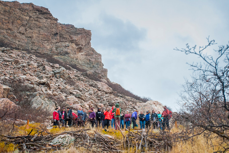 A hundred or so volunteers gather in the Ogden foothills to conduct repairs to the trails and prevent further damage to the hillside, on Saturday November 4, 2017, in Ogden.